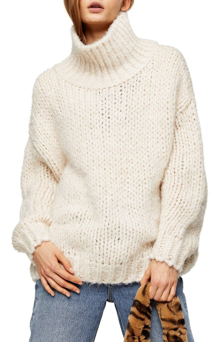 TOPSHOP Chunky Funnel Sweater, Main, color, OATMEAL