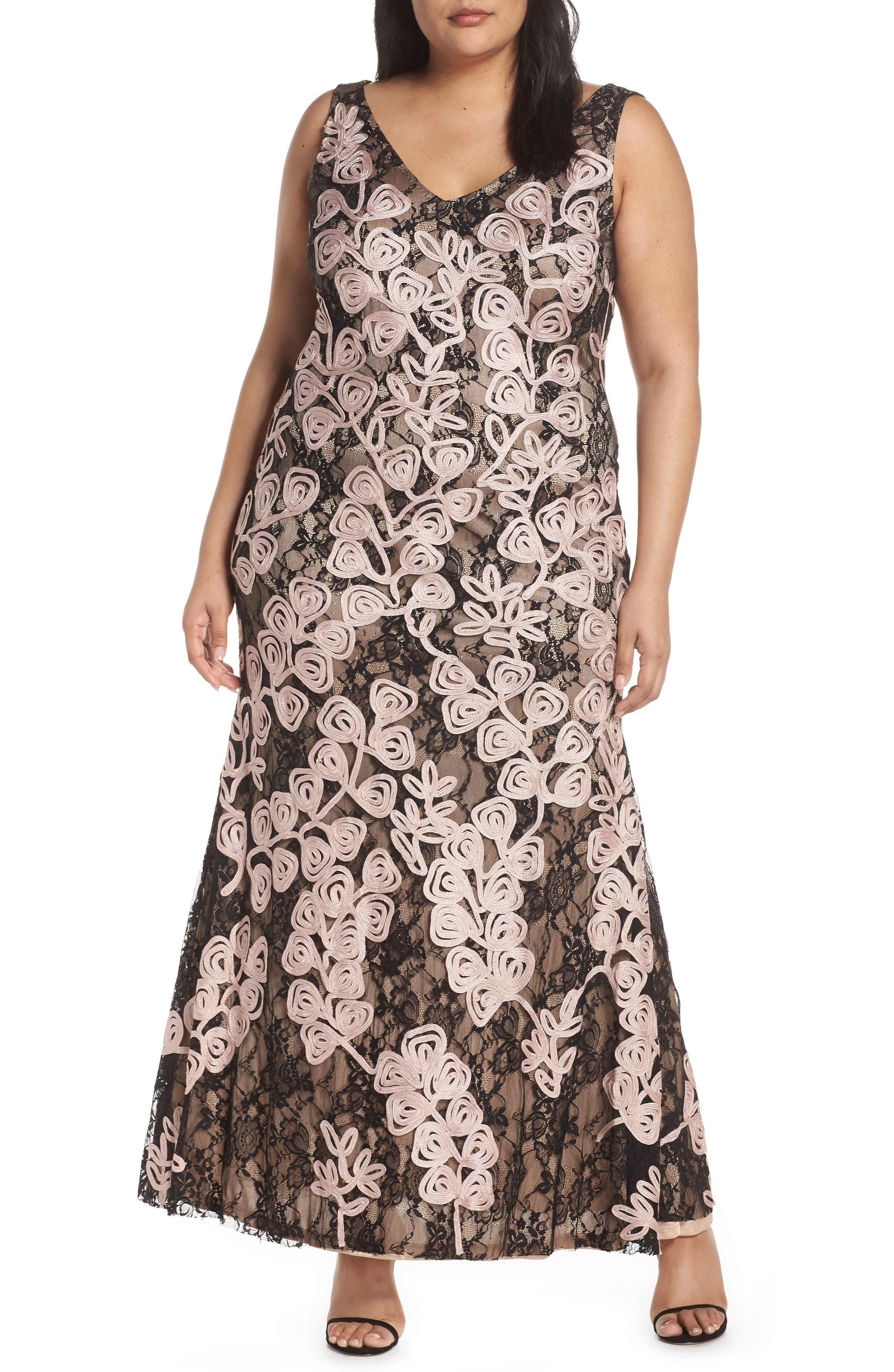 Plus Size Js Collections Soutache Embroidered Lace Evening Dress, Black