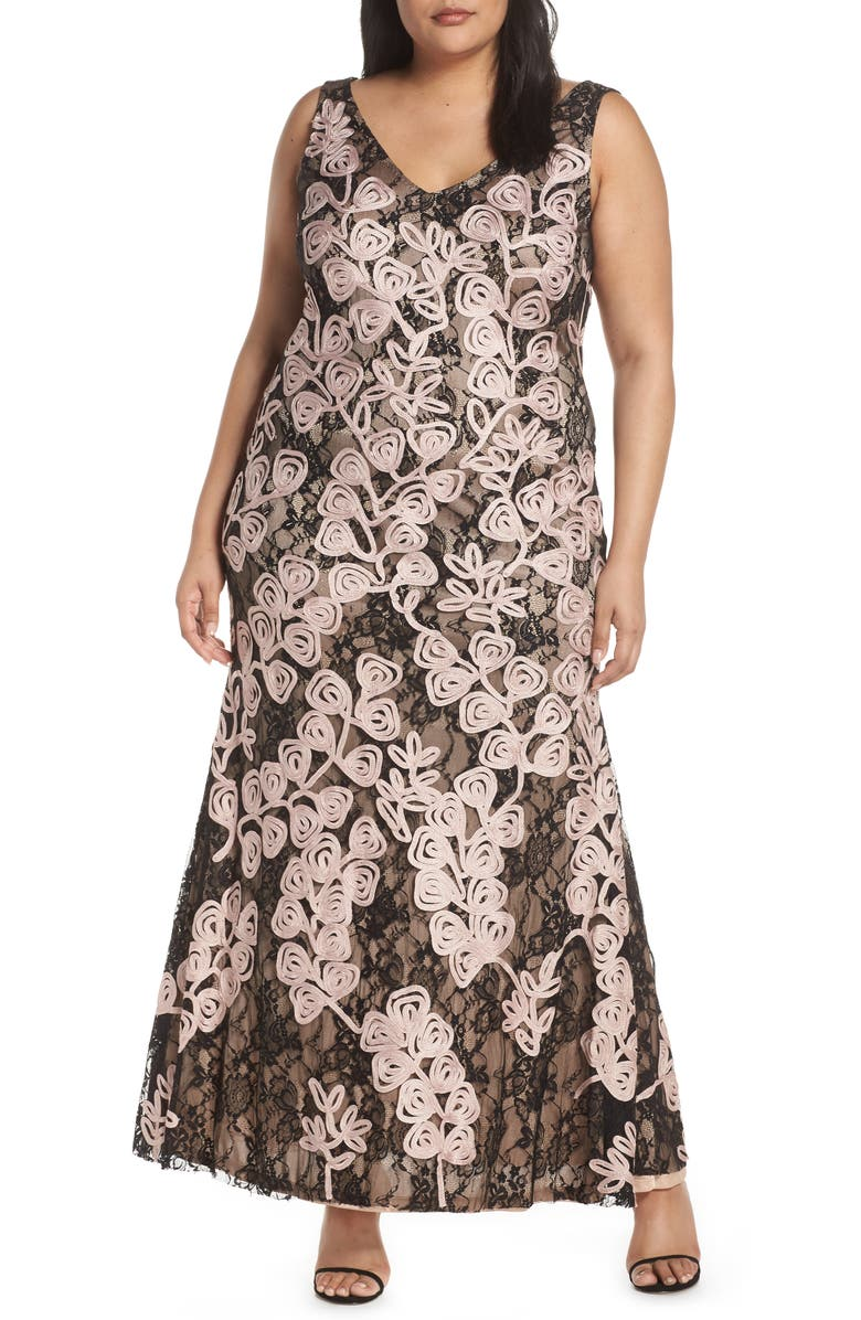 JS Collections Soutache Embroidered Lace Evening Dress (Plus ...