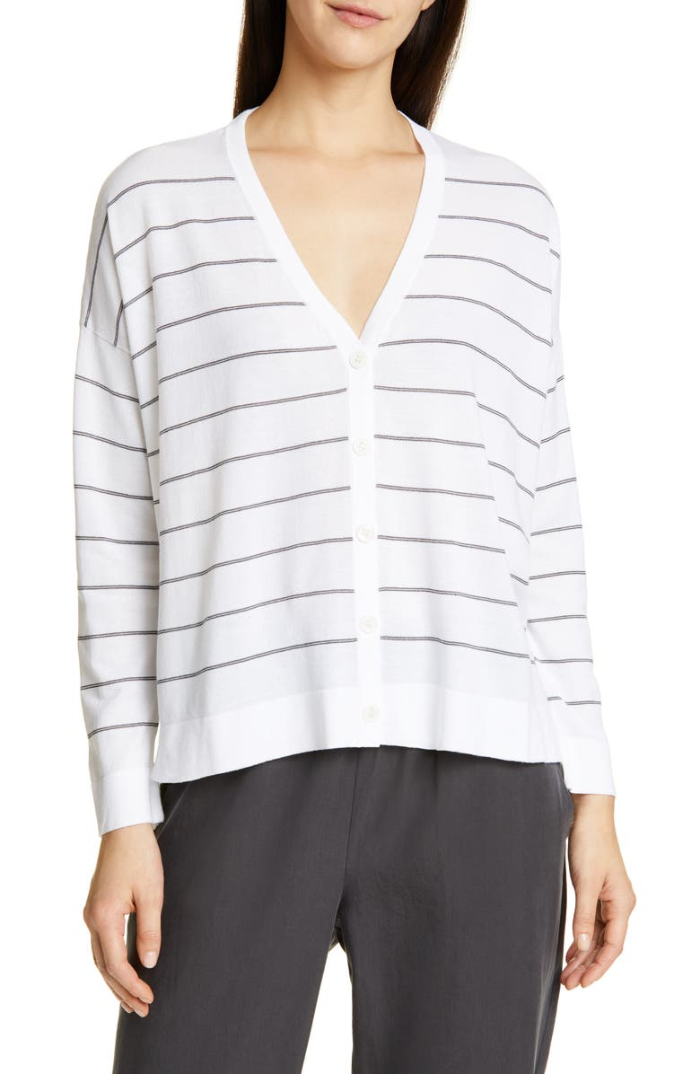 EILEEN FISHER V-Neck Boxy Cardigan, Main, color, 141