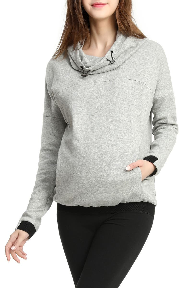 KIMI AND KAI Samara Cowl Neck Maternity/Nursing Hoodie, Main, color, GRAY