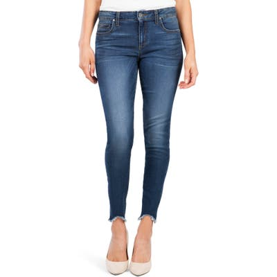Kut From The Kloth Donna High Waist Frayed Hem Skinny Jeans, Blue