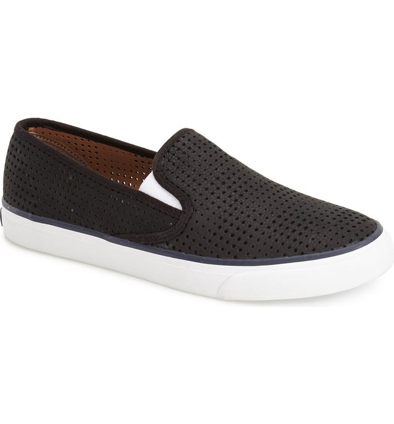 SPERRY 'Seaside' Perforated Slip-On Sneaker, Main, color, 001