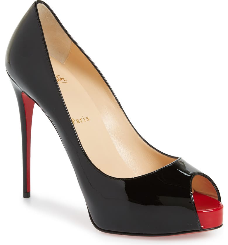 CHRISTIAN LOUBOUTIN 'Prive' Open Toe Pump, Main, color, BLACK/ RED