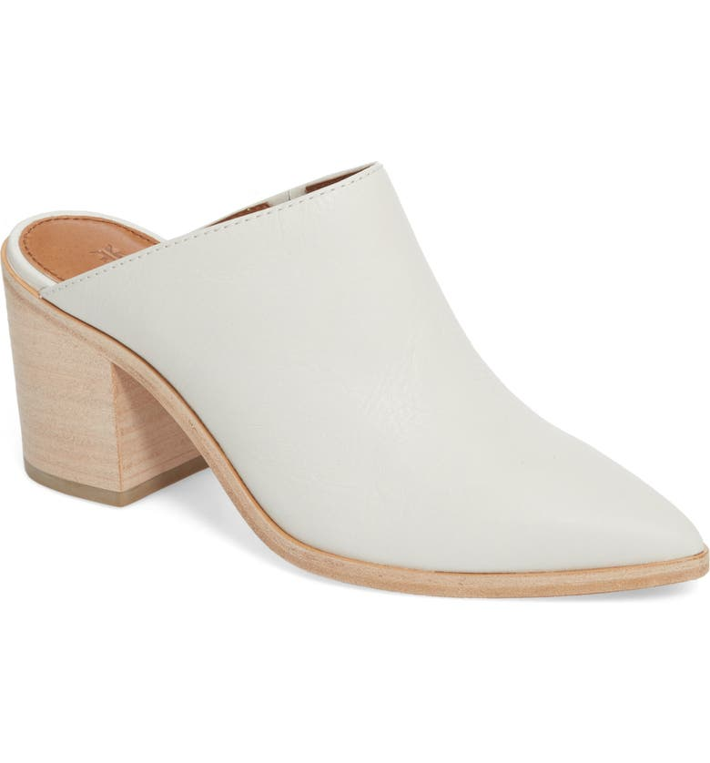 FRYE Flynn Mule, Main, color, WHITE LEATHER