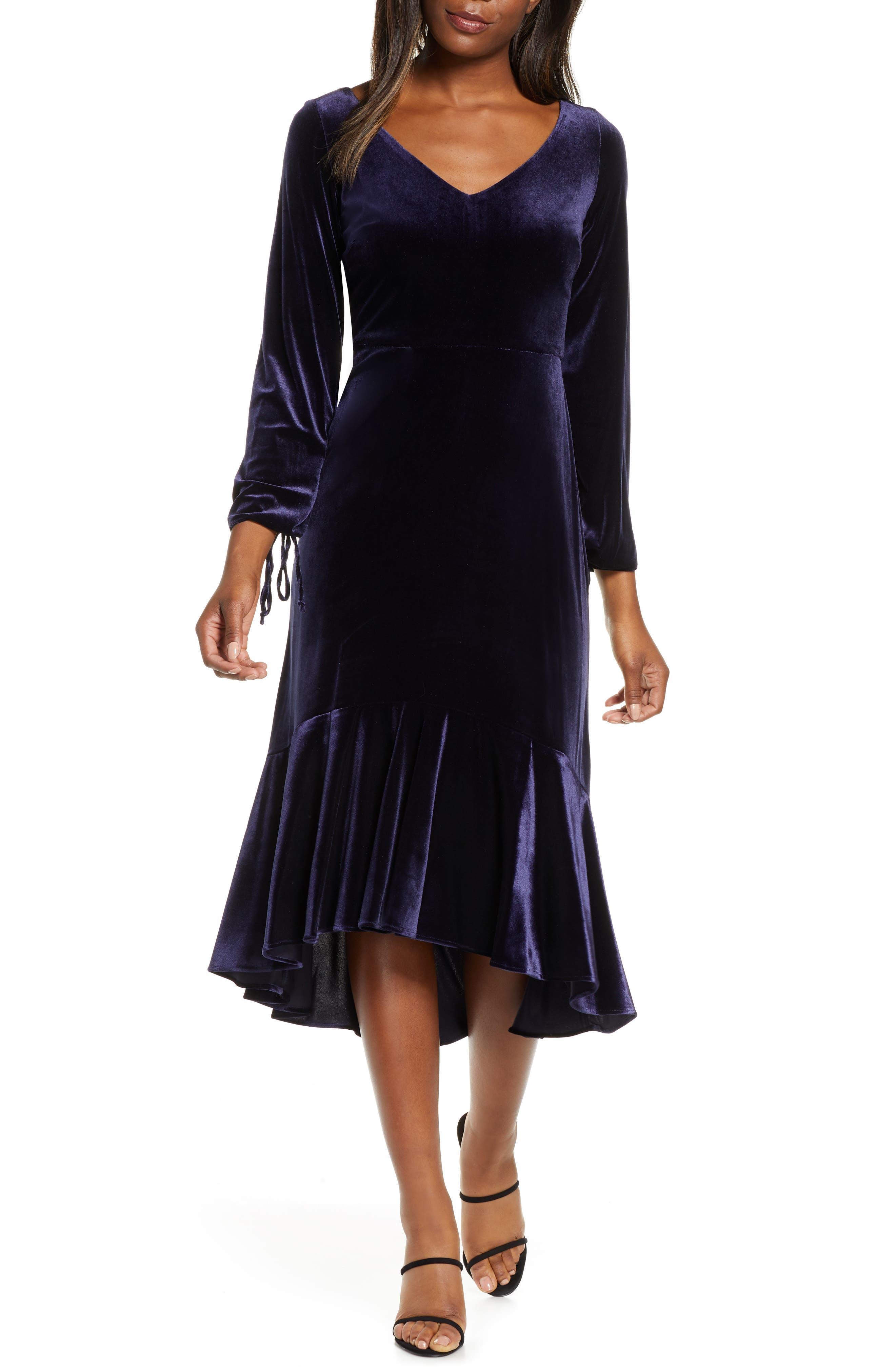 Charleston Dress: Fringe Flapper Dress Womens Taylor Dresses Long Sleeve Velvet Midi Dress $99.00 AT vintagedancer.com