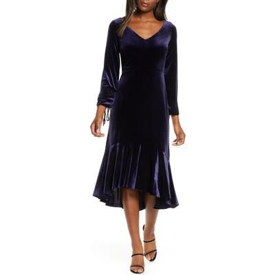 Taylor Dresses Long Sleeve Velvet Midi Dress, Blue