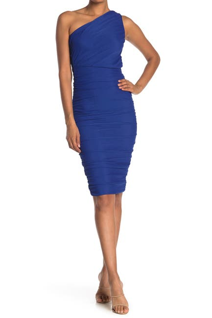 Image of Love by Design Ruched One Shoulder Midi Dress