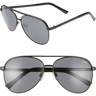 Quay Australia Vivienne 60Mm Aviator Sunglasses - Black/ Smoke Grey