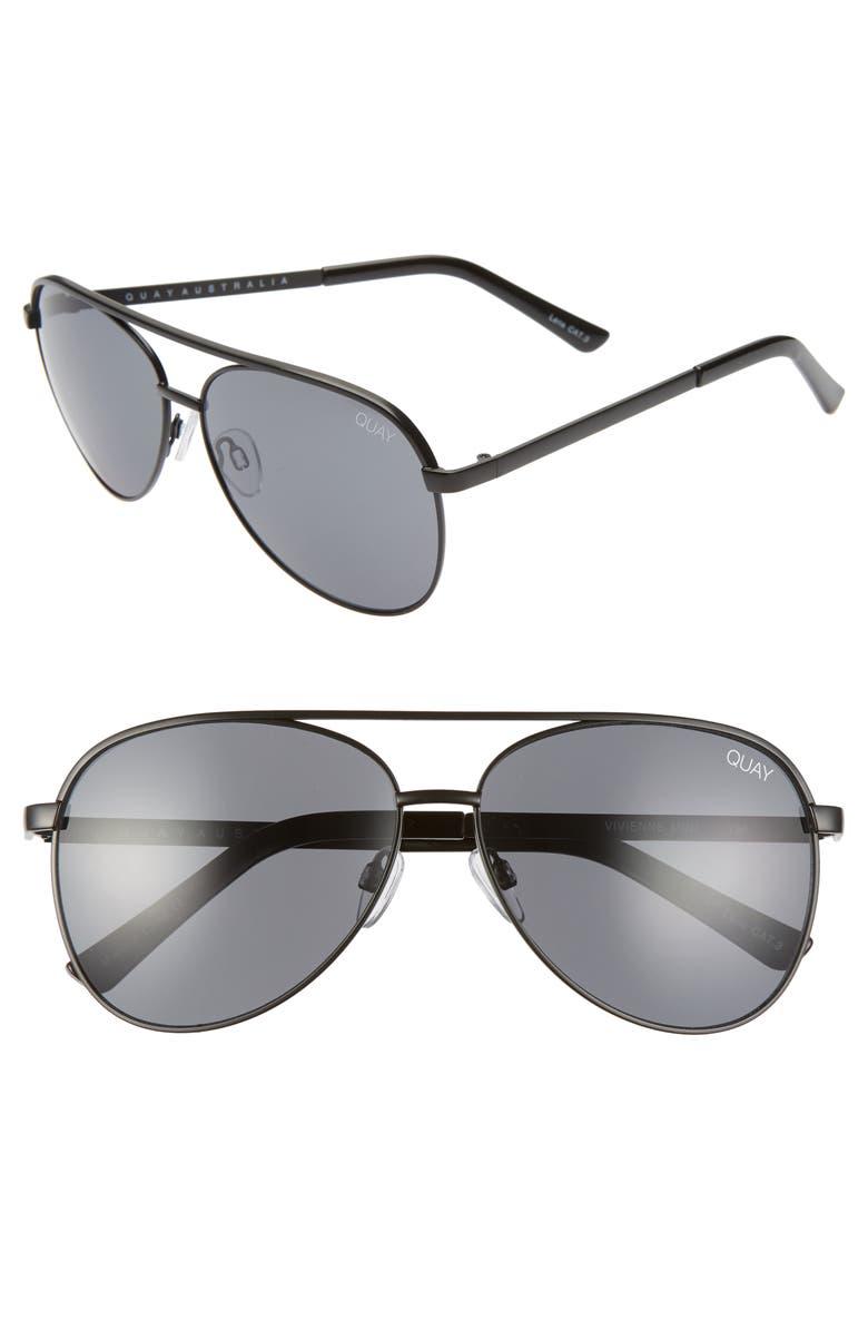 QUAY AUSTRALIA Vivienne 60mm Aviator Sunglasses, Main, color, BLACK/ SMOKE GREY
