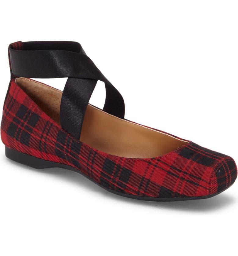 JESSICA SIMPSON 'Mandalaye' Leather Flat, Main, color, BLACK/ RED