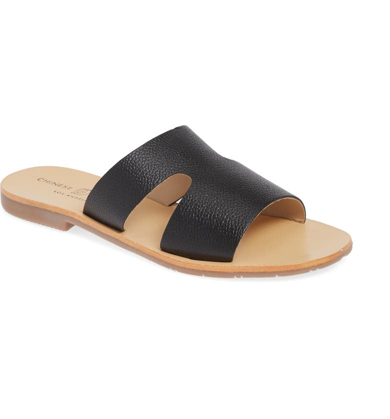 CHINESE LAUNDRY Mannie Slide Sandal, Main, color, BLACK LEATHER