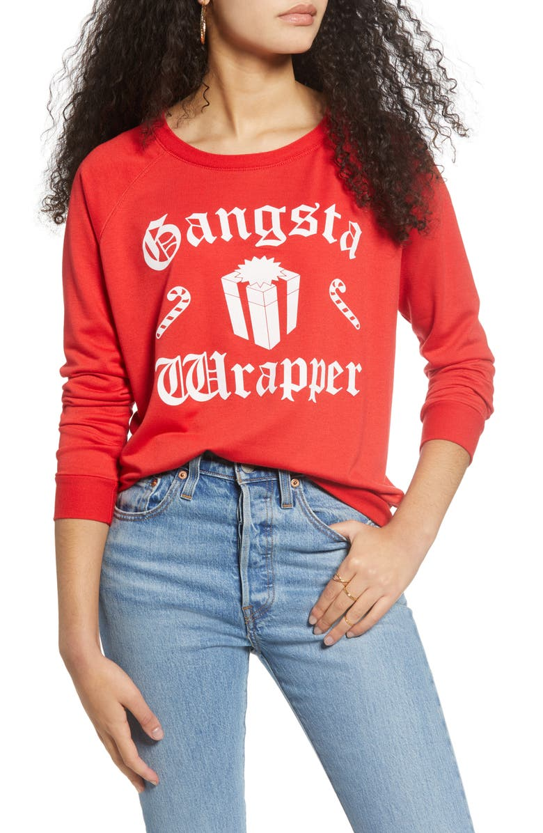 PRINCE PETER Gangsta Wrapper Pullover, Main, color, RED