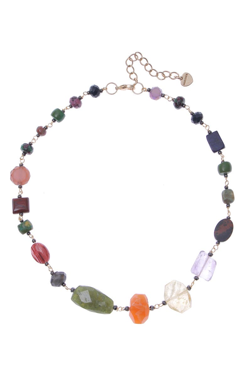 NAKAMOL CHICAGO Mix Gemstone Necklace, Main, color, GOLD