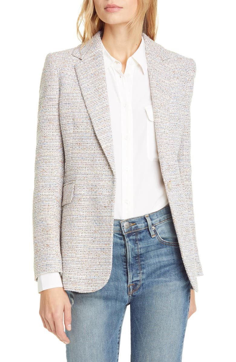 HELENE BERMAN Single Button Blazer, Main, color, BEIGE/ BLUE MULTI