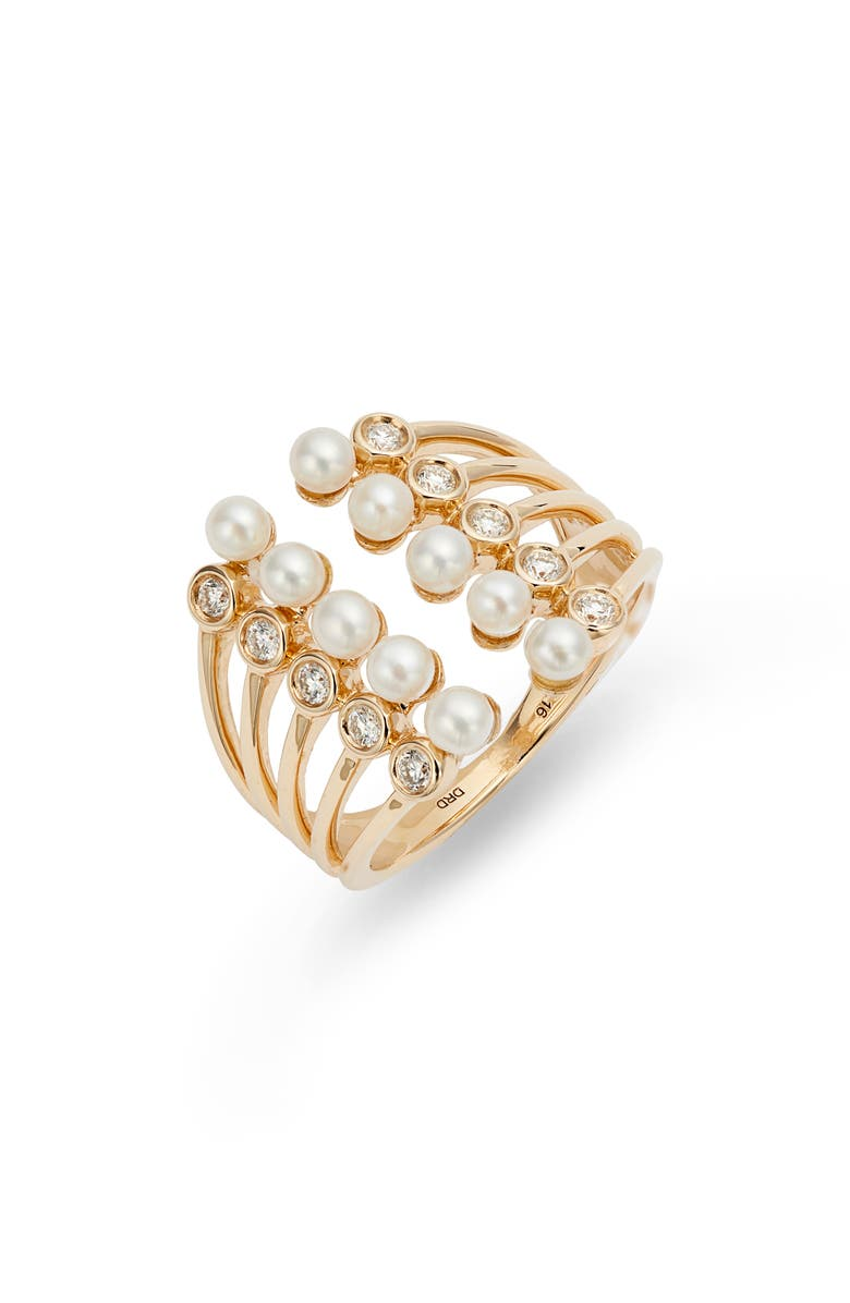 DANA REBECCA DESIGNS Pearl Ivy Open Stack Ring, Main, color, YELLOW GOLD/ DIAMOND