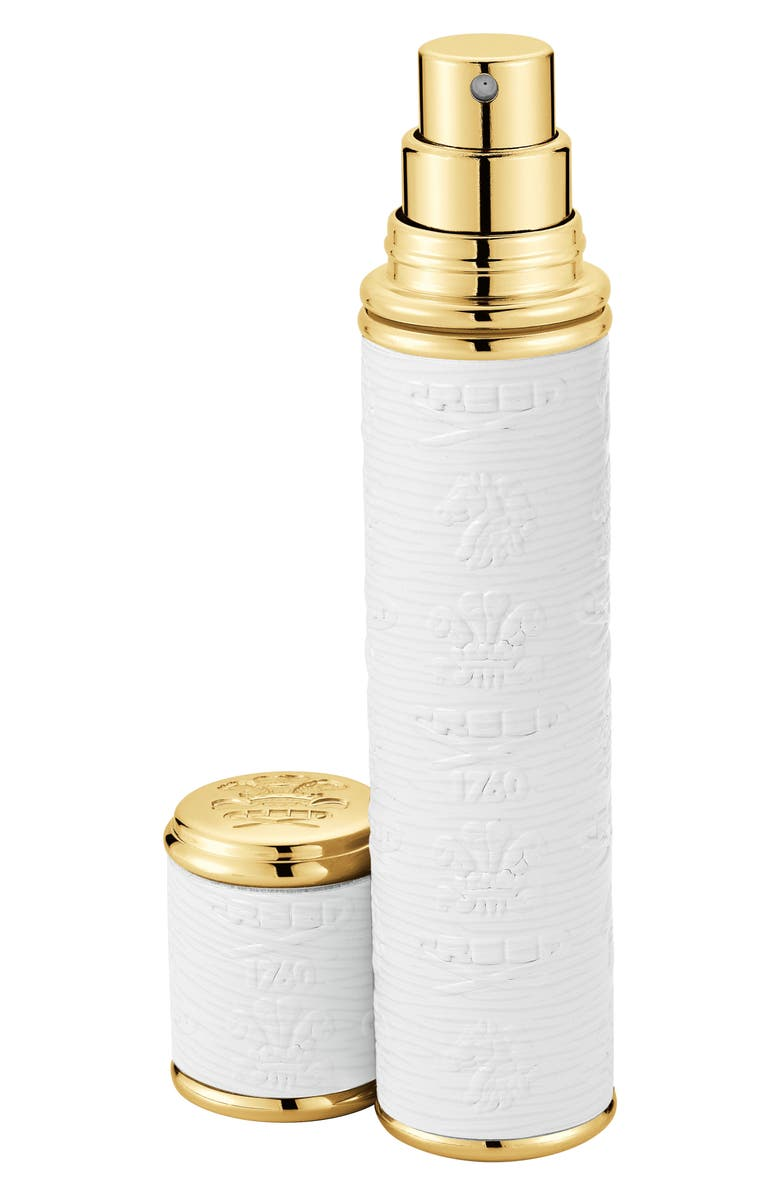 CREED Small White with Gold Trim Leather Atomizer, Main, color, 000