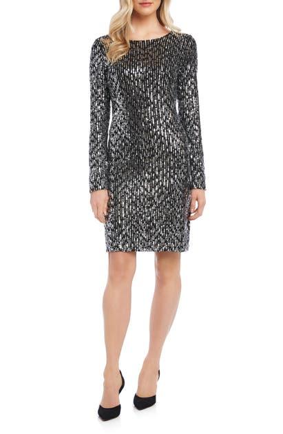 Karen Kane Dresses LONG SLEEVE SEQUIN SHEATH DRESS