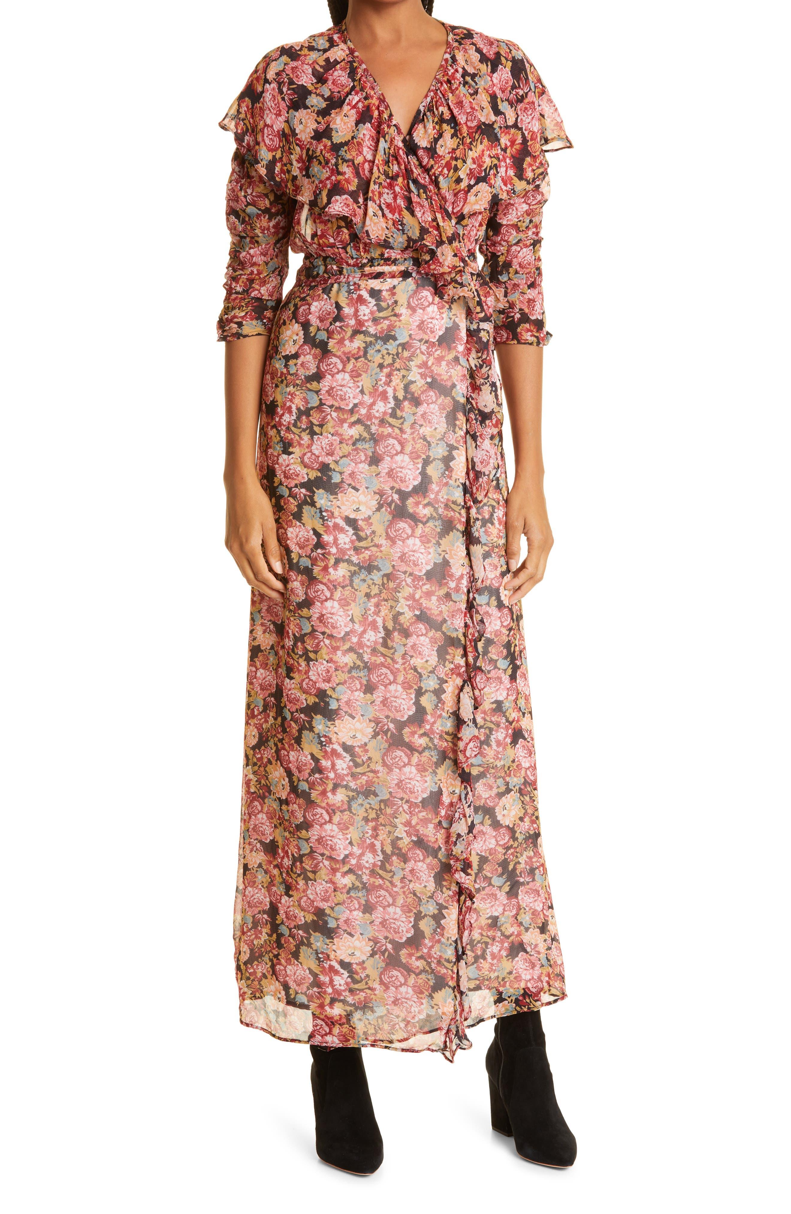 Georgette Three-Quarter Sleeve Wrap Dress