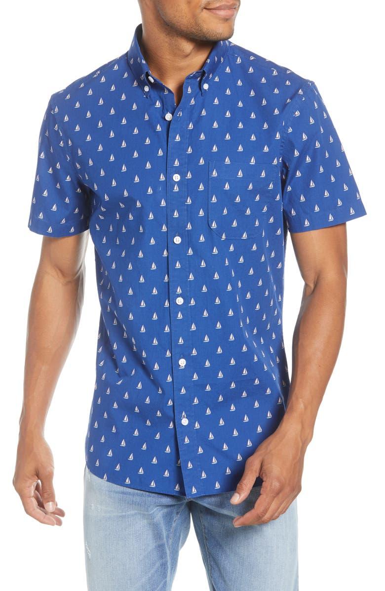 1901 Slim Fit Boat Short Sleeve Button-Down Shirt, Main, color, BLUE MAZARINE SAIL BOATS