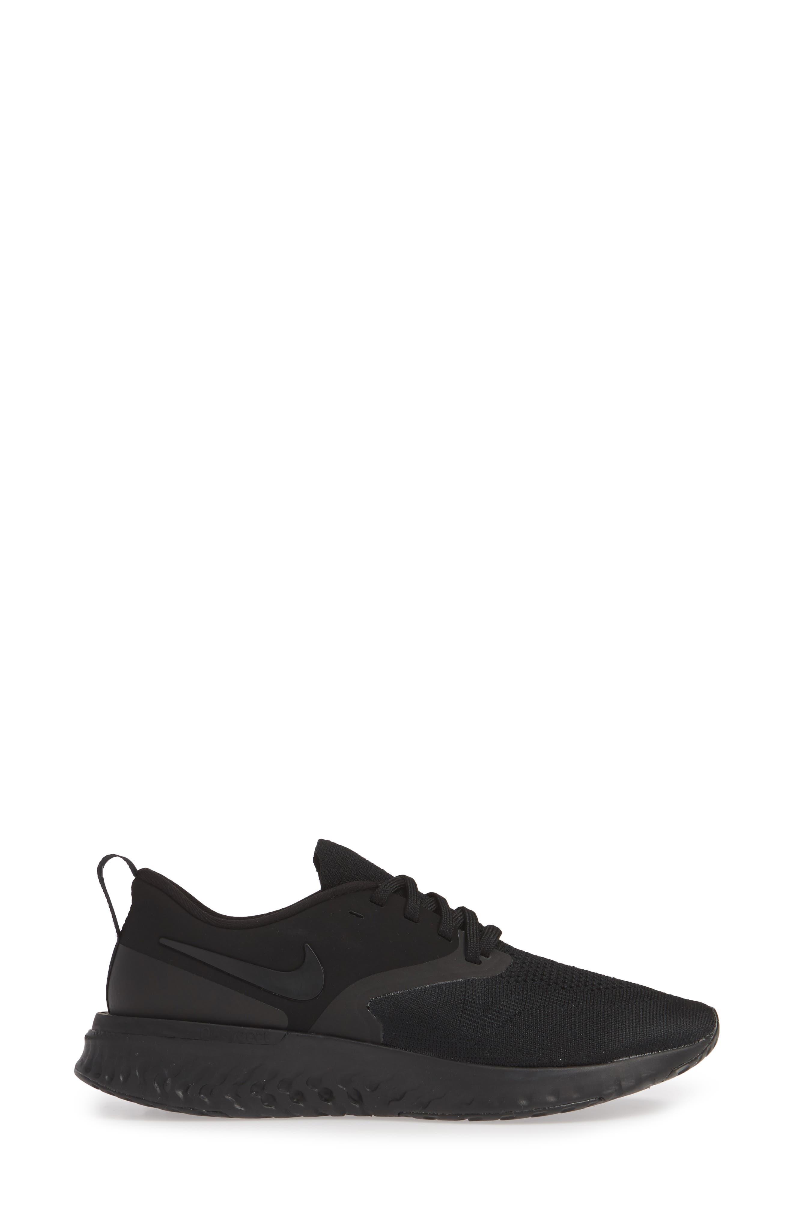 ,                             Odyssey React 2 Flyknit Running Shoe,                             Alternate thumbnail 3, color,                             BLACK/ BLACK/ WHITE