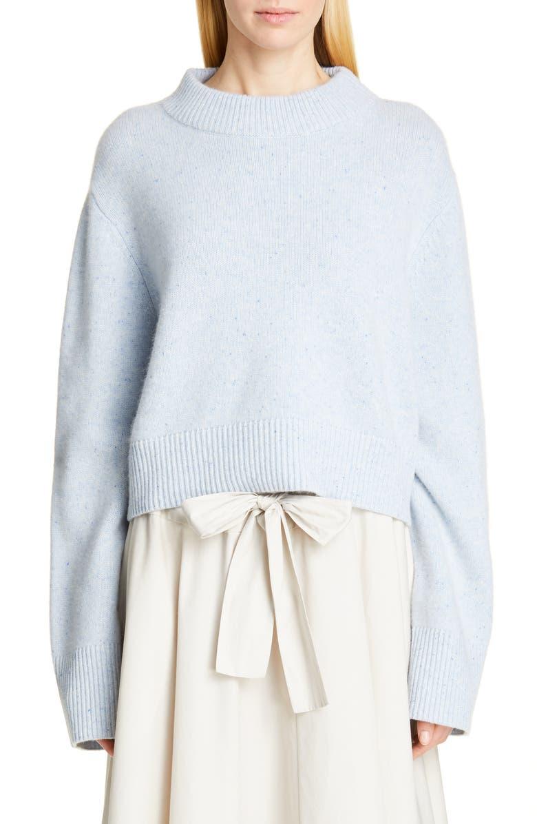 CO Boxy Cashmere Crop Sweater, Main, color, HEATHER BLUE