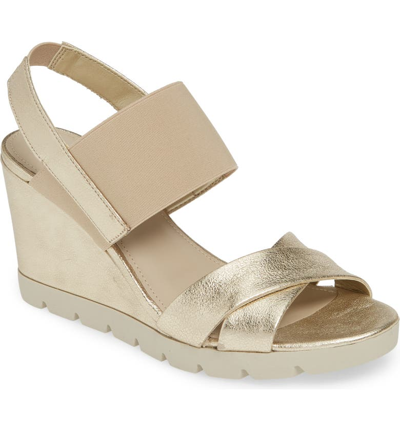 THE FLEXX Get Over It Wedge Sandal, Main, color, GOLD CRINKLED LEATHER