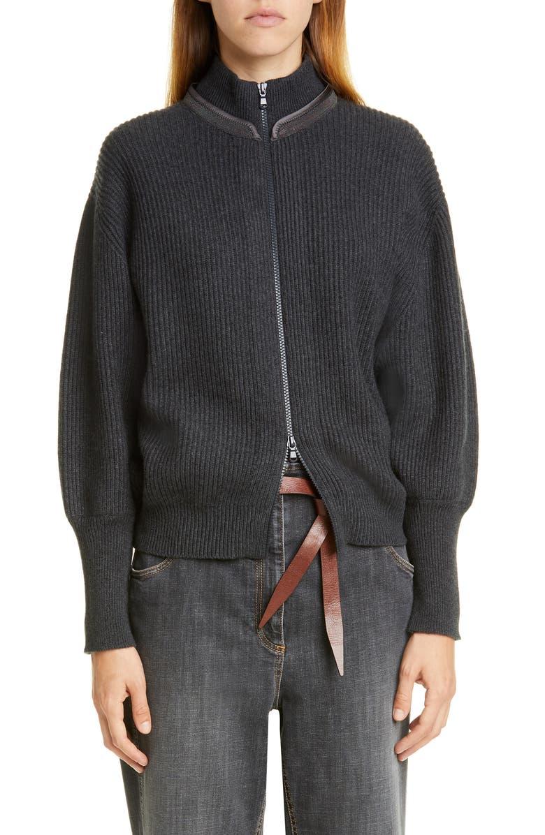 BRUNELLO CUCINELLI Monili Collar Rib Cashmere Cardigan, Main, color, ONYX