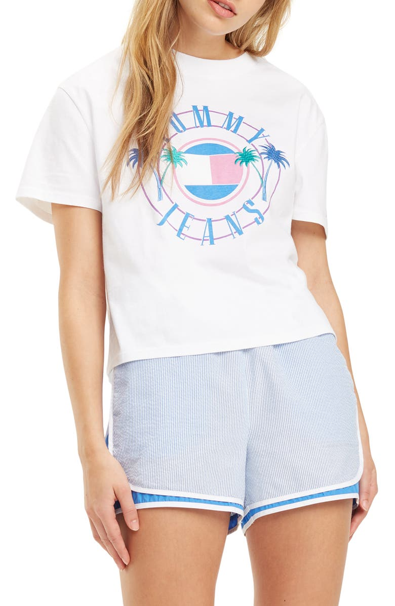 TOMMY JEANS Summer Circle Logo Graphic Crop Tee, Main, color, CLASSIC WHITE