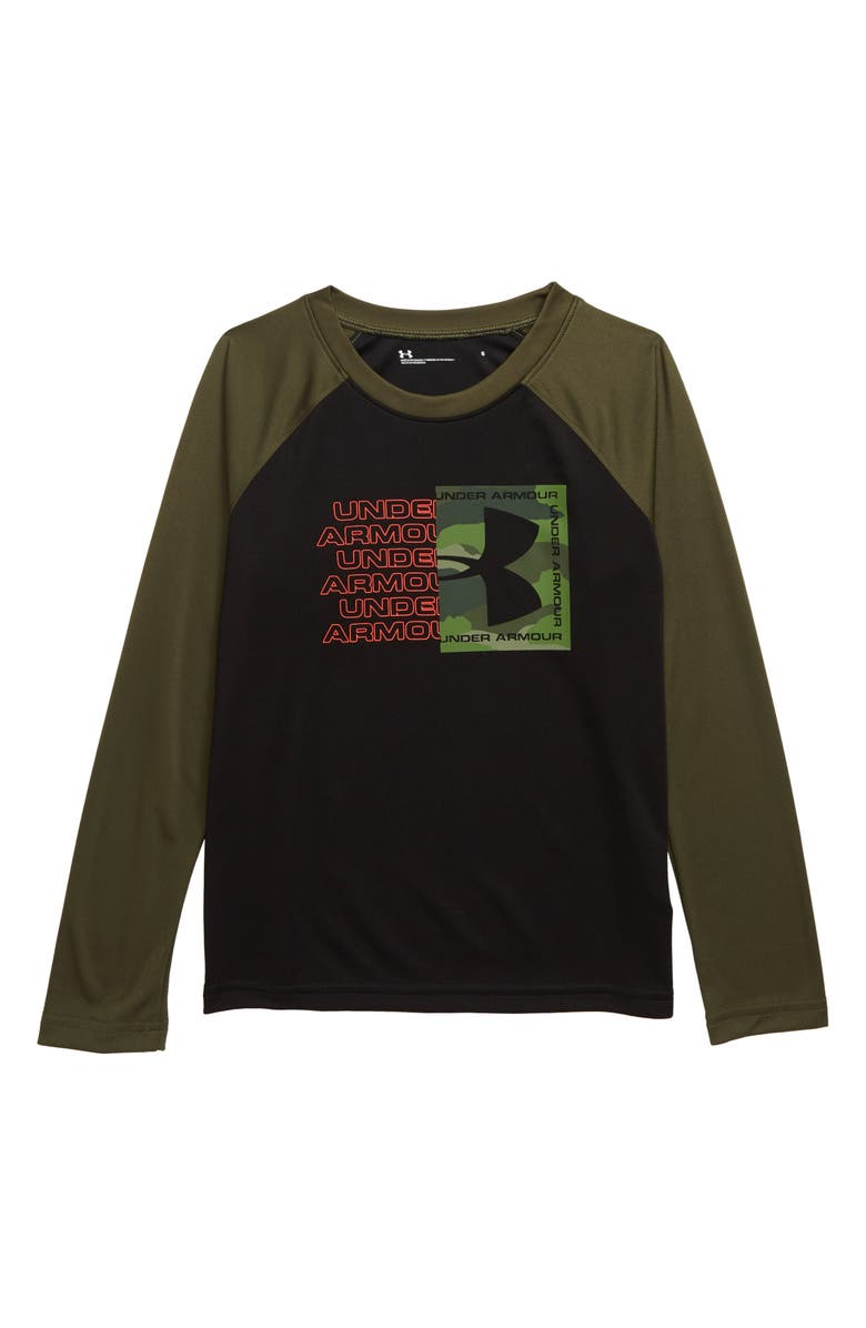 UNDER ARMOUR Bandit Camo Wordmark HeatGear<sup>®</sup> T-Shirt, Main, color, BLACK