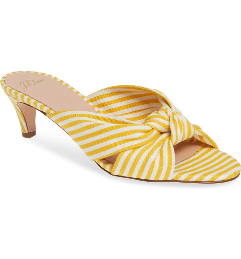 J.CREW Stripe Knotted Kitten Heel Sandal, Main, color, WARM YELLOW SUN