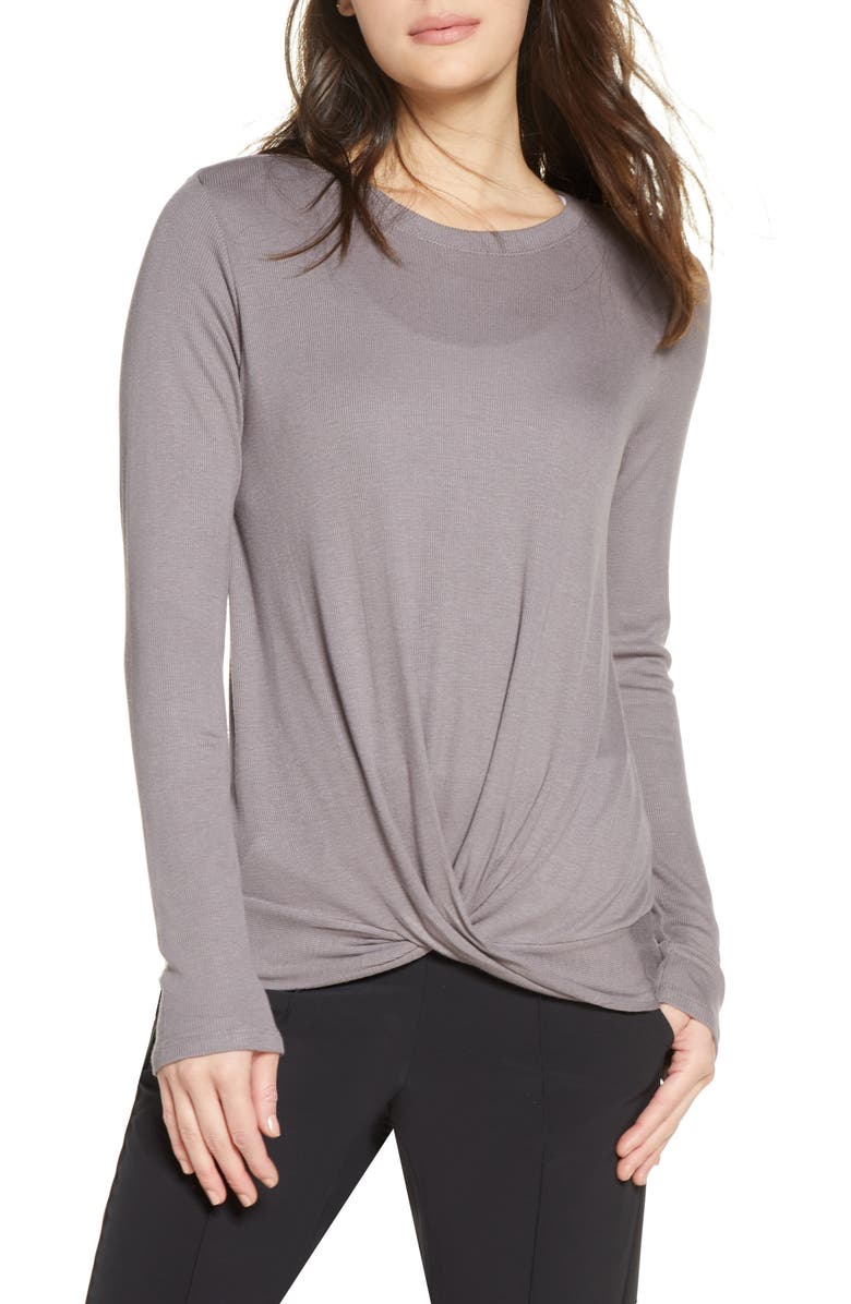 ZELLA Twist It Tee, Main, color, GREY TRUFFLE