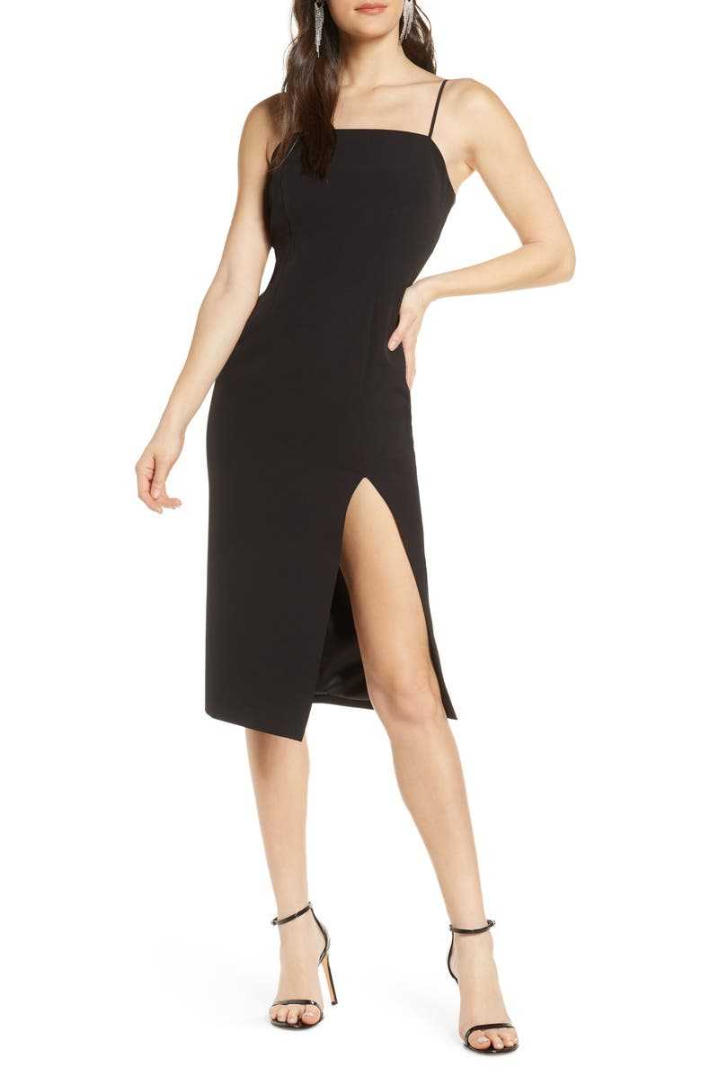 BARDOT Eliana Knee Length Cocktail Dress, Main, color, BLACK