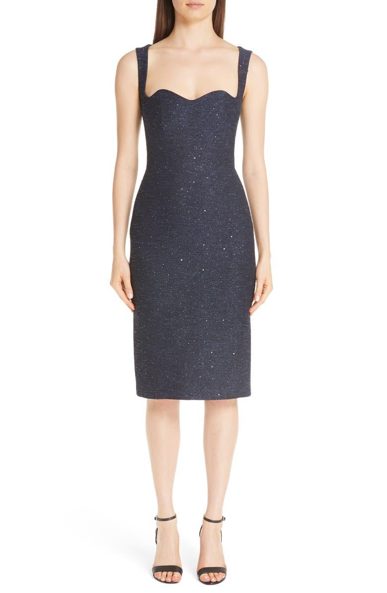 LELA ROSE Sequin Tweed Sheath Dress, Main, color, 400