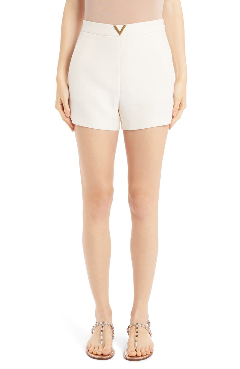 VALENTINO VLOGO Wool & Silk Crepe Couture Shorts, Main, color, AVORIO