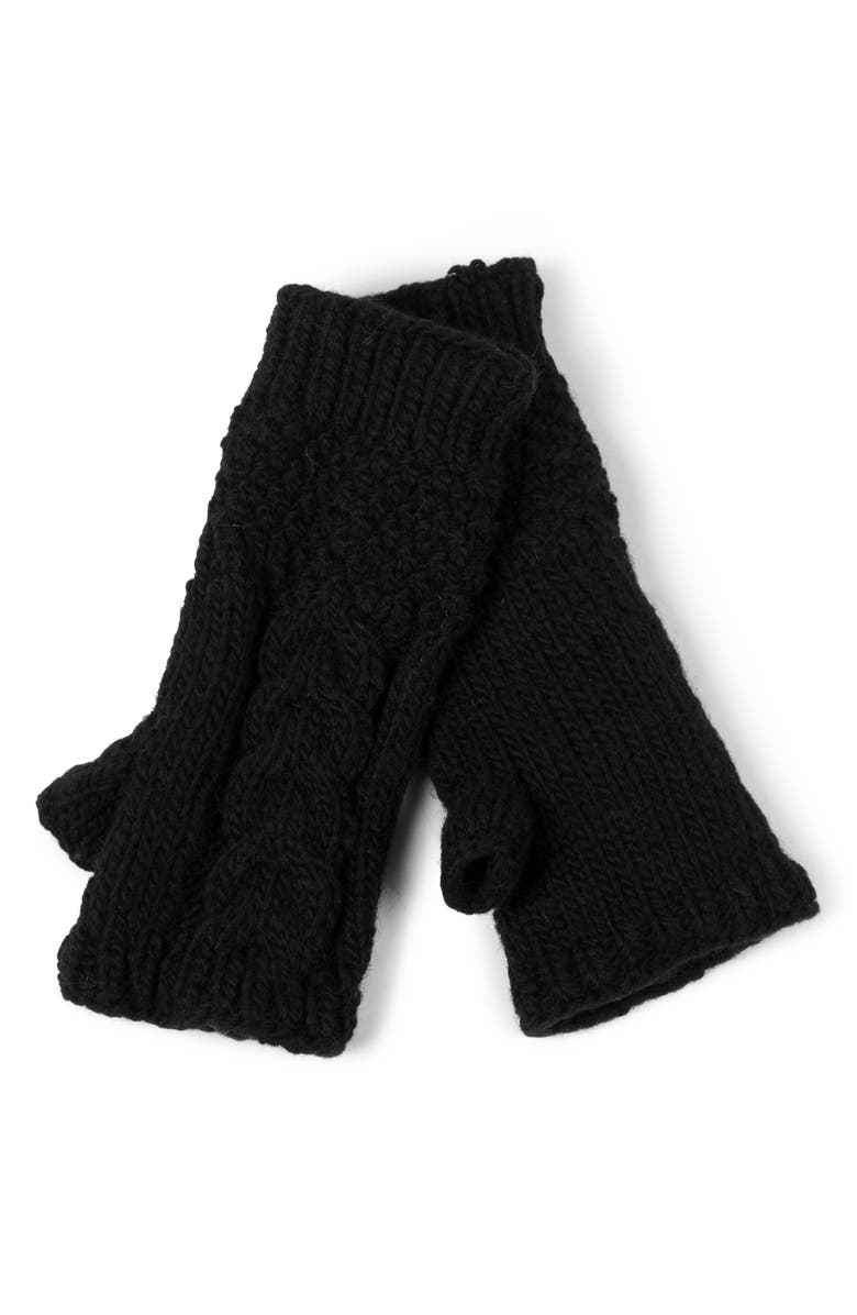 NIRVANNA DESIGNS Cable Knit Hand Warmers, Main, color, BLACK