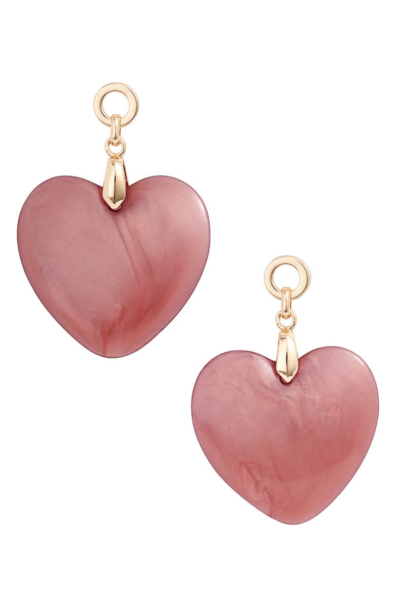 RACHEL PARCELL Resin Heart Drop Earrings, Main, color, GOLD