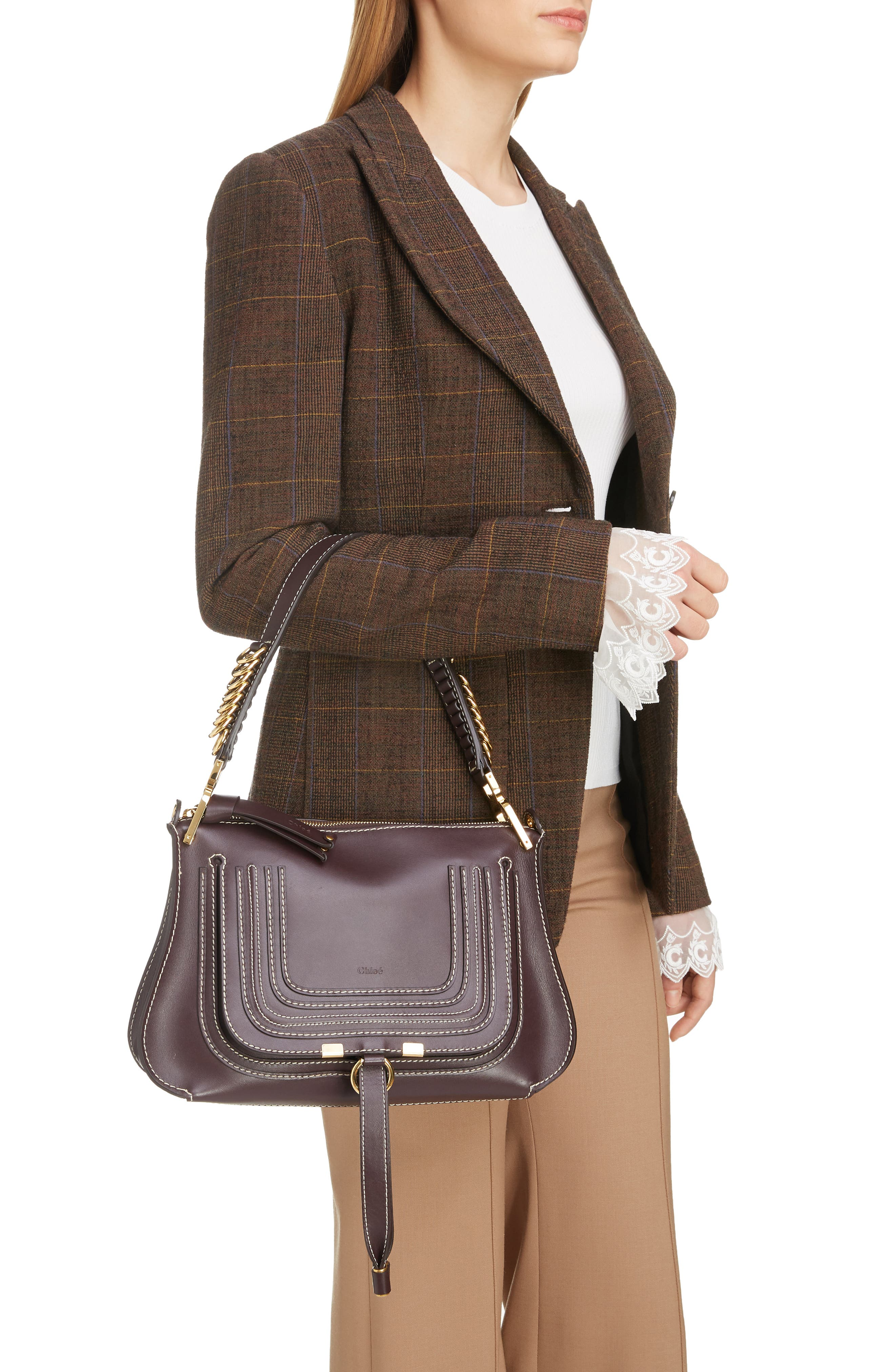 ,                             Marcie Leather Top Handle Bag,                             Alternate thumbnail 2, color,                             BLACK RAISIN