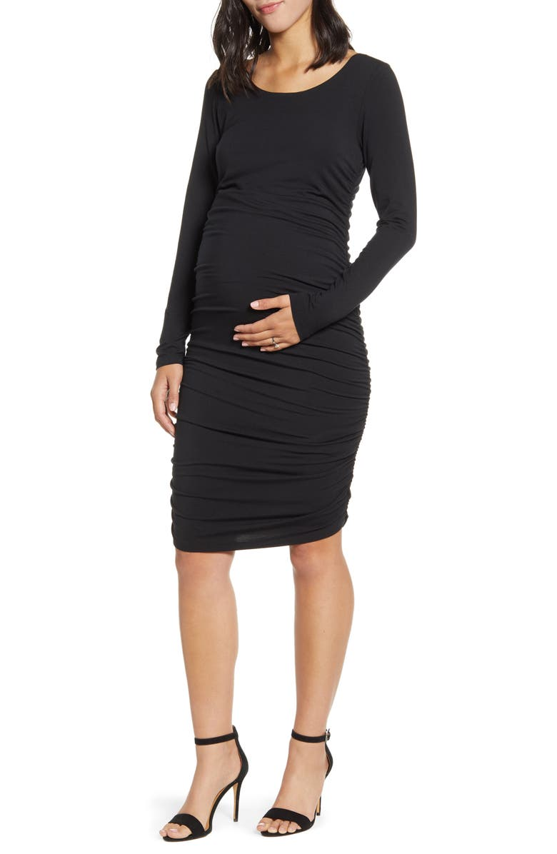 ANGEL MATERNITY Long Sleeve Ruched Body-Con Maternity Dress, Main, color, BLACK