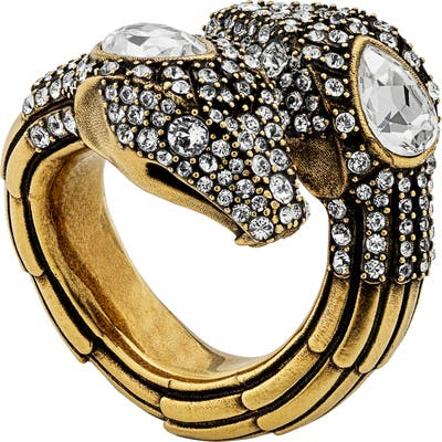 Gucci Crystal & Cubic Zirconia Snake Ring
