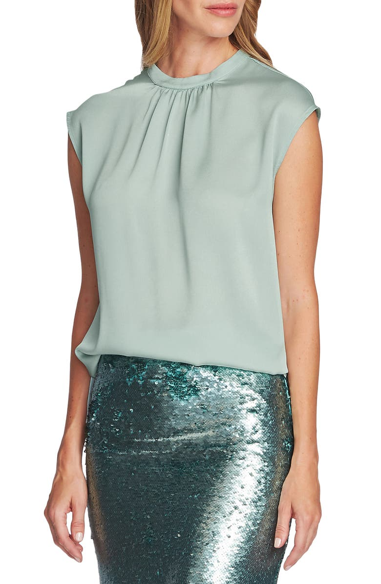 VINCE CAMUTO Pleated Neck Blouse, Main, color, FLORA GREEN