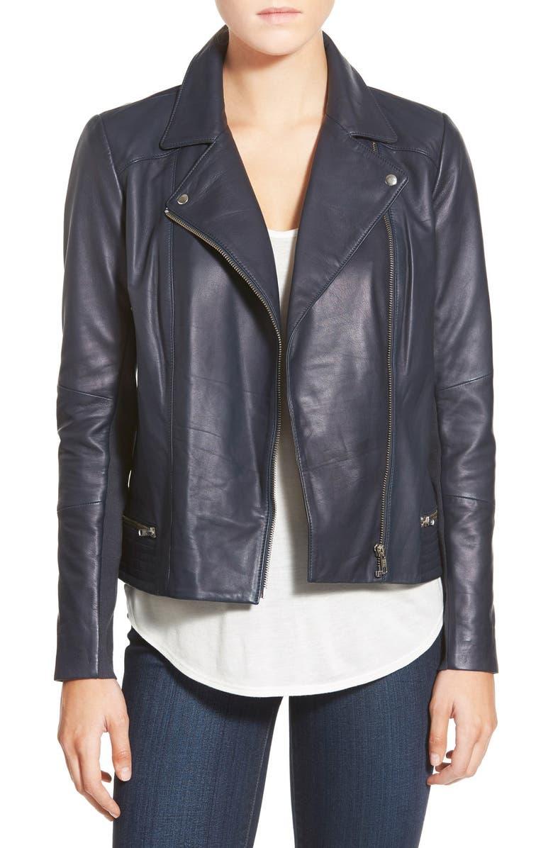 TROUVÉ Leather Biker Jacket, Main, color, 410