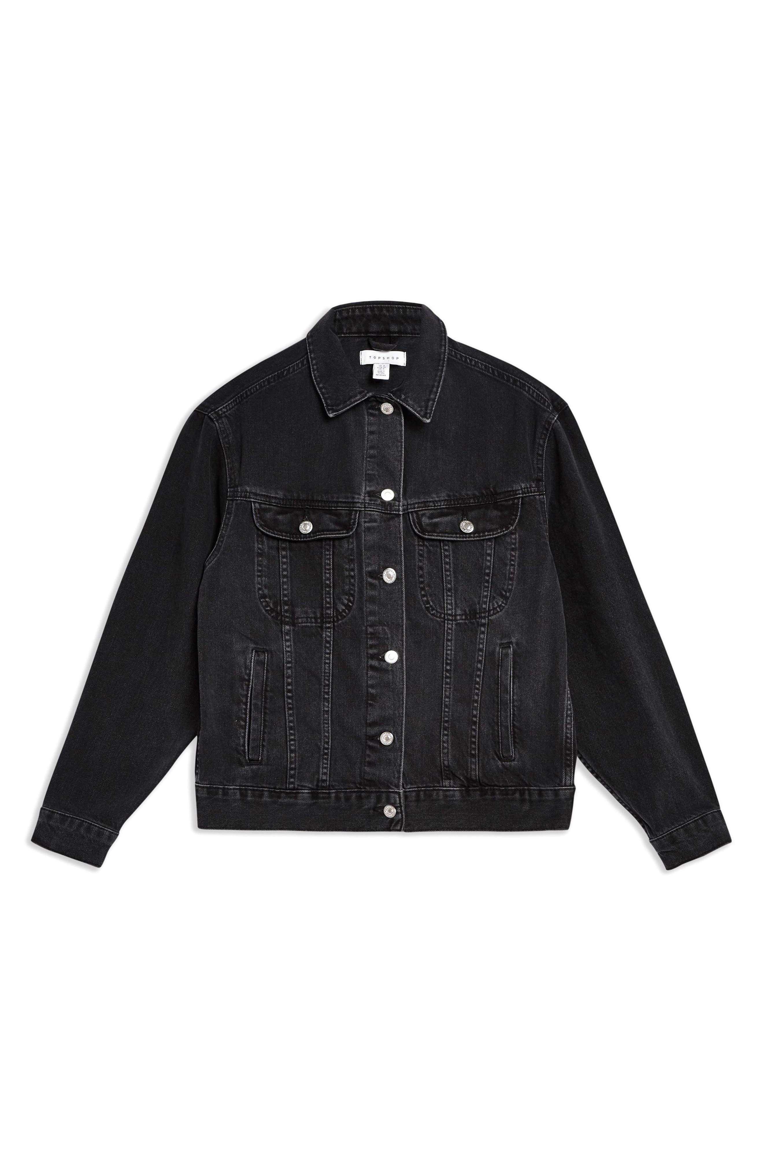 ,                             Oversize Denim Jacket,                             Alternate thumbnail 5, color,                             WASHED BLACK