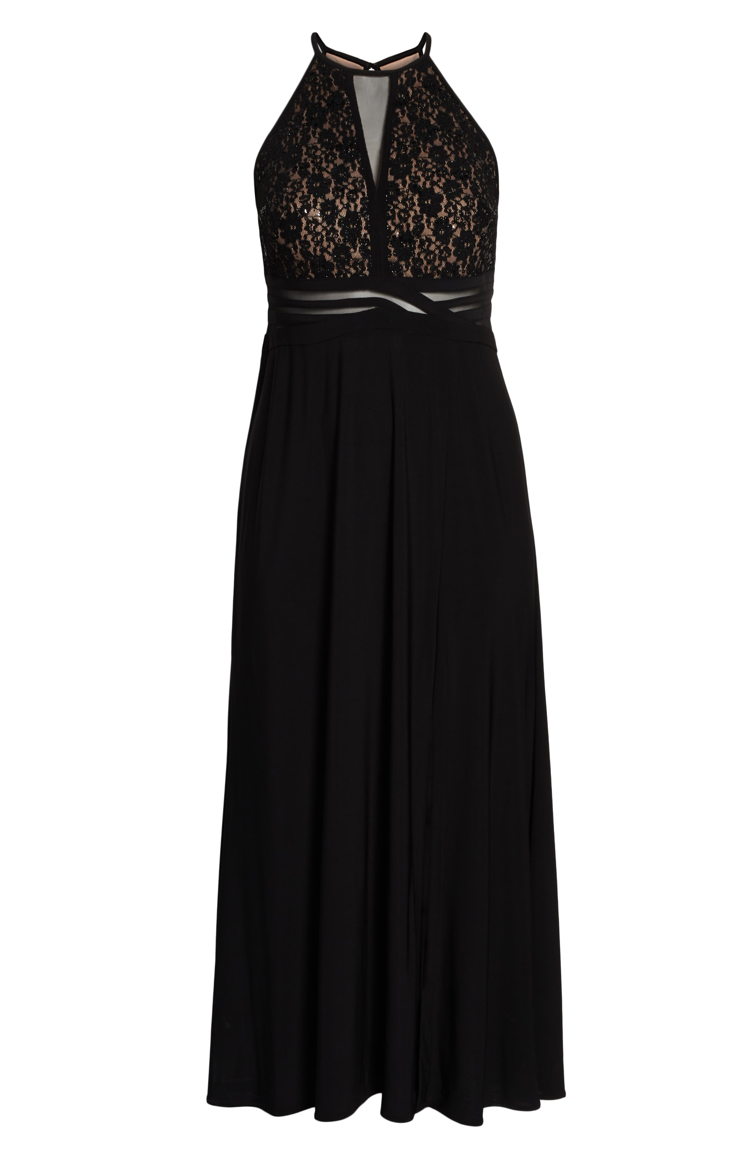 ,                             Illusion Inset Lace Bodice Gown,                             Alternate thumbnail 7, color,                             BLACK/ NUDE