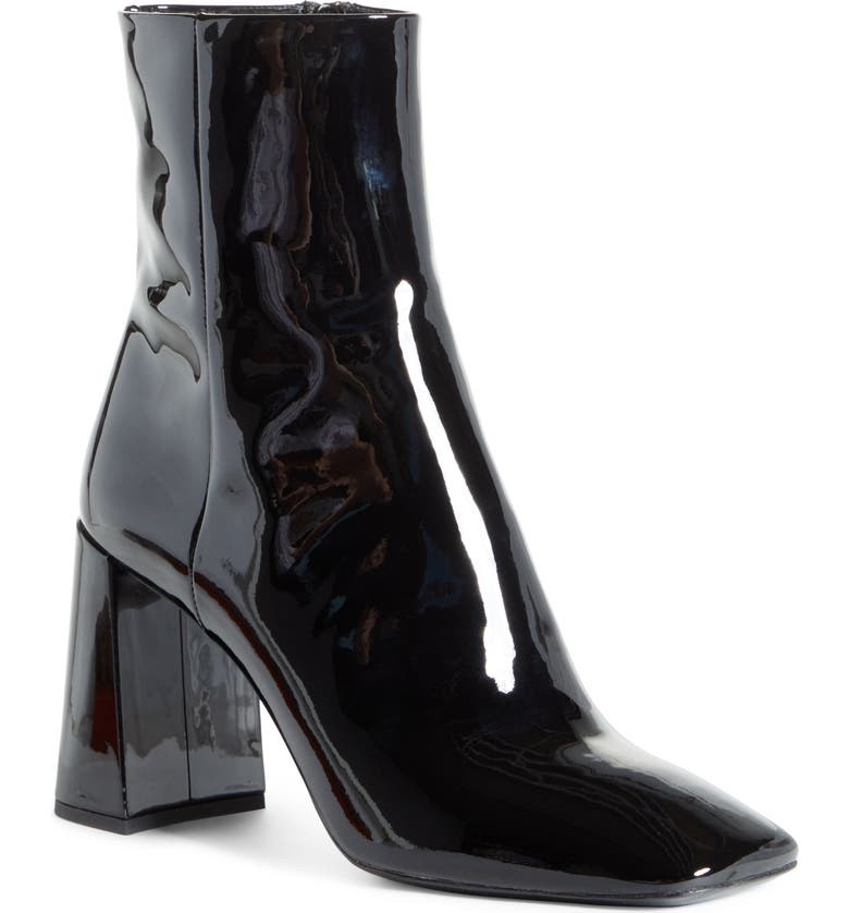 PRADA Block Heel Patent Leather Bootie, Main, color, BLACK PATENT
