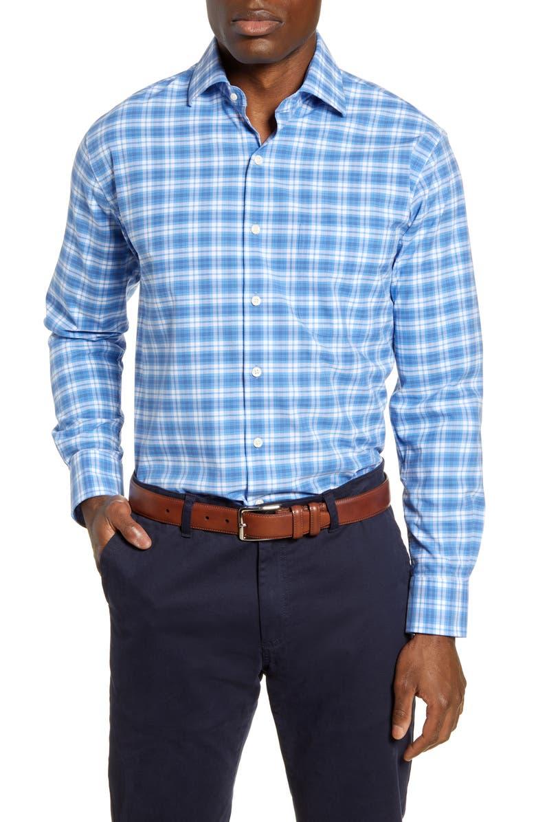 PETER MILLAR Crown Finish Rockland Regular Fit Plaid Button-Up Shirt, Main, color, 406