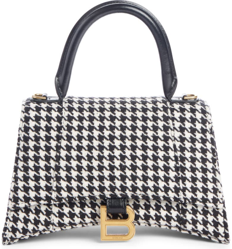 BALENCIAGA Small Hourglass Houndstooth Top Handle Bag, Main, color, BLACK/ WHITE