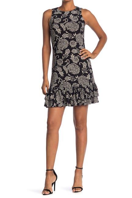 Image of Tommy Hilfiger Floral Sleeveless Ruffle Hem Mini Dress