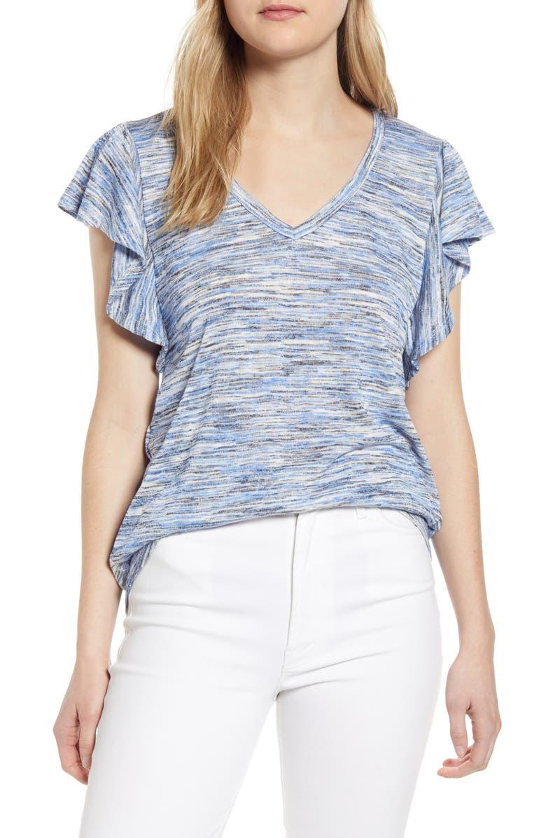 BOBEAU Space Dye Flutter Sleeve T-Shirt, Main, color, AMPARO SPACEDYE