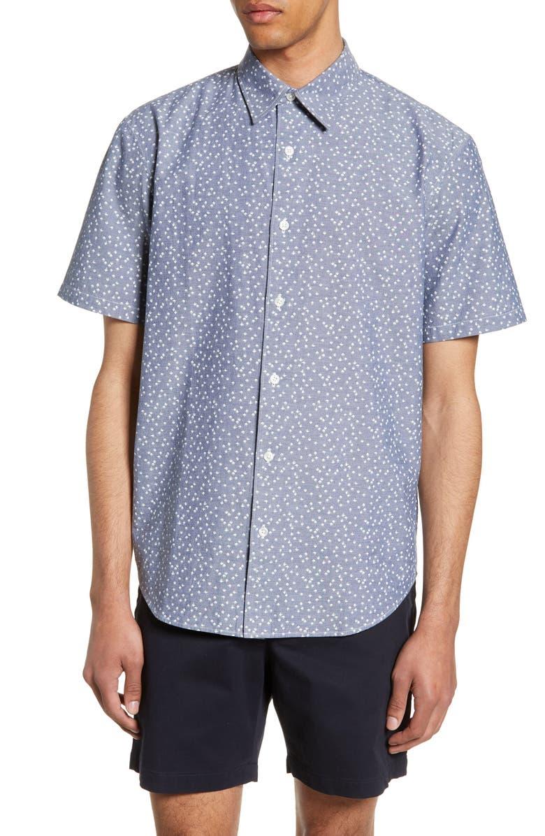 CLUB MONACO Slim Fit Agave Print Shirt, Main, color, NAVY